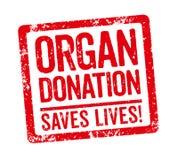 En röd stämpel på en vit bakgrund - organdonation stock illustrationer