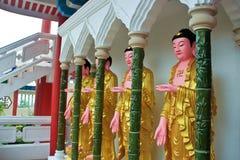 En rad av Buddhastatyer Royaltyfria Foton