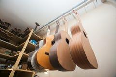 En rad av den klassiska oavslutade gitarren på seminariet Arkivfoton