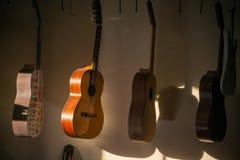 En rad av den klassiska oavslutade gitarren på seminariet i solljus Royaltyfria Foton