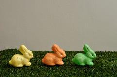 En rad av färgrika kaniner för easter garnering Arkivfoto