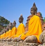 En rad av gamla Buddhastatyer Royaltyfri Bild