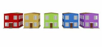 En rad av kulöra små hus Royaltyfri Bild