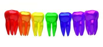 En rad av mångfärgade tänder på en vit bakgrund Royaltyfri Fotografi