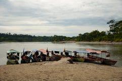 En rad av motoriserade kanoter som sitter på kanten av en flod royaltyfri bild