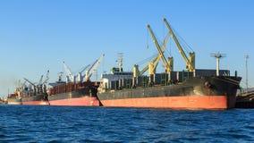 En rad av skepp för bärare i stora partier i port arkivfoto
