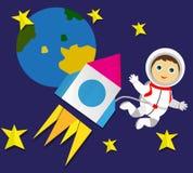 En raket med en astronaut och stjärnor applejacken stock illustrationer