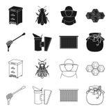 En ram med honungskakor, en slev av honung, en fumigator från bin, en krus av honung Fastställda samlingssymboler för bikupa i sv Fotografering för Bildbyråer