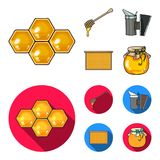 En ram med honungskakor, en slev av honung, en fumigator från bin, en krus av honung Fastställda samlingssymboler för bikupa i te Arkivfoto