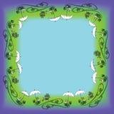 En ram på ett mörkt - blå grön bakgrund från utomhus- utrustning royaltyfri foto