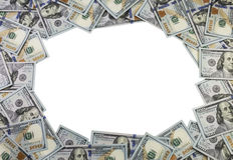 En ram som göras av 100 dollarräkningar på vit bakgrund Royaltyfria Bilder