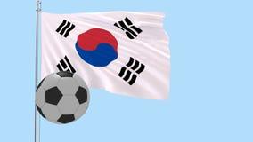 En realistisk fotbollboll flyger runt om fladdrarealistiskt flaggan av Sydkorea på en genomskinlig bakgrund, 3d tolkningen, P