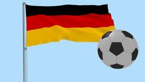 En realistisk fotbollboll flyger runt om fladdrarealistiskt flaggan av Tyskland på en genomskinlig bakgrund, 3d tolkningen, PNG f