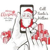 En realistisk stående av Santa Claus som kallar genom att använda smartphoneskärmen stock illustrationer