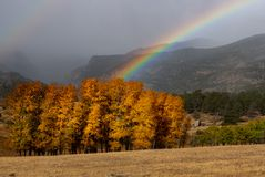 En regnbåge som leder till guld royaltyfria bilder