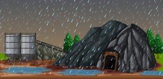En regnig natt på minen royaltyfri illustrationer