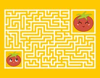 En rektangulär labyrint med ett gulligt tecknad filmtecken Finna den högra banan modiga ungar Pussel för barn Tecknad filmstil royaltyfri illustrationer