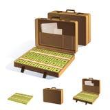 en resväska av pengar Inpackning i packar av sedlar bakgrund isolerad white Royaltyfri Fotografi