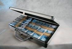 En resväska mycket av pengar Arkivfoto