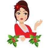 En retro tappningstående av jul för en kvinna stock illustrationer