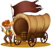 En revolverman med en vagn royaltyfri illustrationer