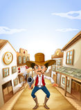 En revolverman på byn stock illustrationer