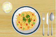 En rice i en maträtt vektor illustrationer