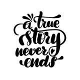En riktig berättelse avslutar aldrig royaltyfri illustrationer