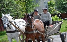 En ritt på en gata bär ett par av hästar och folk Royaltyfri Bild