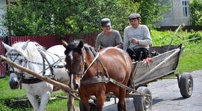 En ritt på en gata bär ett par av hästar och folk Royaltyfri Fotografi