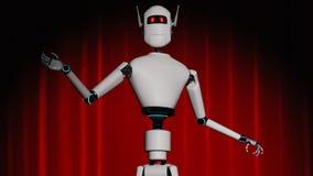 En robot står på en etapp med en röd gardin vektor illustrationer