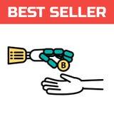 En robotic arm ger ett bitcoinmynt Cyberarmen är ett symbol av robotteknik och automation Moderna pengar som är elektroniska royaltyfri illustrationer