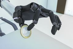 En robotic hand med ett euromynt Royaltyfria Bilder