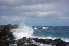 En Rocky Shoreline - en Kauai, Hawaii Arkivbilder