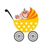 En rolig illustration av en behandla som ett barn som vinkar från hans sittvagn stock illustrationer