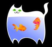 En rolig illustration av en le katt med fisken som har ätits inom hans tarmkanal stock illustrationer