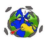 En rolig och vältalig illustration om planetjordlidandet från global uppvärmning royaltyfria bilder