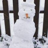En rolig snögubbe fotografering för bildbyråer