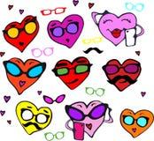 En rolig uppsättning av hjärtor i olika färger för valentindag Ställ in hjärtorna av hipsters med exponeringsglas, mustasch Royaltyfria Bilder