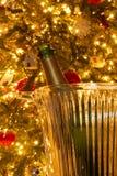 En romantisk inställning med en champagneflaska framme av en julgran royaltyfria bilder