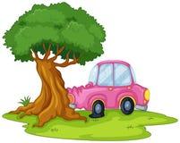 En rosa bil som knuffar till det jätte- trädet Royaltyfri Bild