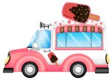 En rosa bil som säljer icecream Arkivfoton