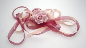 En rosa färgros med det röda bandet och rosa band Royaltyfri Foto