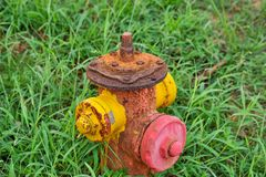 En rostig brandvattenkran royaltyfria foton