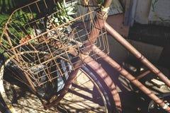 En rostig gammal cykel royaltyfria bilder