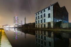 En route to the frozen city. Leeds Liverpool Canal on a frozen night Royalty Free Stock Photography