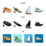 En rubber fiskebåt, en kajak med åror, en fiskeskonare, en motorisk yacht Skepp och samling för vattentransportuppsättning stock illustrationer
