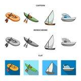 En rubber fiskebåt, en kajak med åror, en fiskeskonare, en motorisk yacht Skepp och samling för vattentransportuppsättning vektor illustrationer