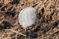 En rubel på jordningen royaltyfria foton