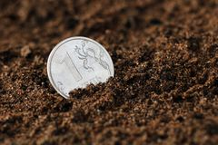 En rubel på jordningen royaltyfri bild